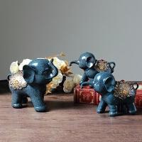 欧式创意大象摆件客厅电视酒柜装饰品三连象结婚礼物三只小象