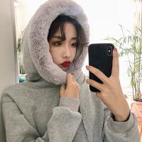加绒加厚卫衣女韩版chic宽松保暖毛领慵懒连帽套头打底衫外套上衣