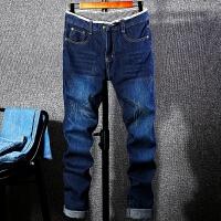 牛仔裤男春季新款2018韩版战狼男士宽松直筒牛仔裤刮痕长裤 深蓝色