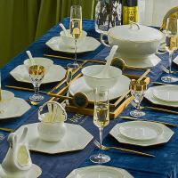 简约欧式碗碟套装家用骨瓷景德镇陶瓷餐具浮雕手工镶金礼盒装 年货节