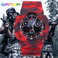 三达表新款军事迷彩双显冷光电子防水户外防震运动男士手表塑料表