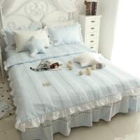 新品加厚韩版纯色床上用品四件套套件床品床裙夹棉被套公主风