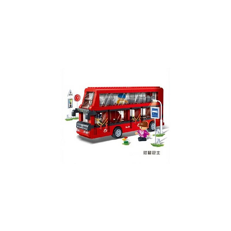 邦宝 拼装积木 儿童益智拼插塑料积木玩具 双层巴士汽车公车 8769