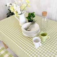 田园嫩绿小格子防水桌布布艺清新餐桌布茶几电视柜台布长方形桌布 嫩绿 小格子(花边 防水)