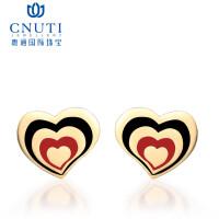 CNUTI粤通国际珠宝 18K金耳钉耳饰 一心一意心形耳环 K金饰品