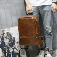 疯马皮双肩包男复古背包户外旅行男女背包大容量学生书包实用 咖啡色