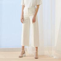 【2件1.5折价:74.9,可叠券】纯棉MECITY女装夏季时尚宽松直筒白色牛仔裤