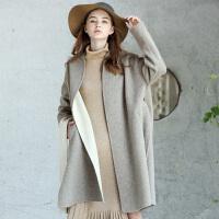 amii redefine2018秋冬季新款大码宽松羊毛双面呢大衣毛呢外套女