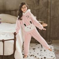 秋冬珊瑚绒套装保暖家居服女童睡衣中大童纯色加厚儿童小孩法兰绒