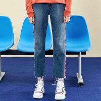 【1件2.5折到手价:59.8】美特斯邦威牛仔裤女个性毛边纯棉牛仔直筒裤宽松裤子冬装新款