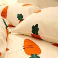 图案枕套简约日式胡萝卜棉棉单人枕头套床上用品 48c/X74c/