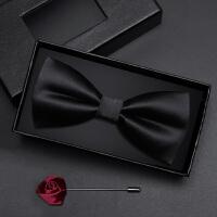 男士伴郎服领结韩版蝴蝶结领结礼盒装男士黑色光面领结