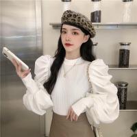 日系��拼接�r衫女秋季2020年新款泡泡袖上衣�O�感白色�L袖�r衣