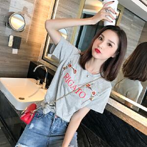 卡茗语纯棉短袖t恤女2018新款玫瑰绣花宽松学生潮夏季韩版新款百搭上衣