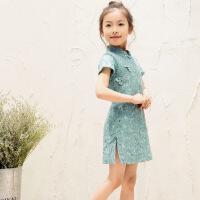 女童旗袍夏 中国风短袖连衣裙子 儿童蕾丝旗袍夏季宝宝亲子装童装