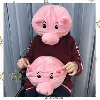 韩国可爱软妹毛绒粉色小猪头套少女心卖萌写真拍照道具卡通学生帽