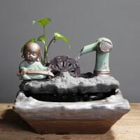 家居客厅鱼缸流水电视柜摆件陶瓷喷泉桌面加湿器创意开业乔迁礼物