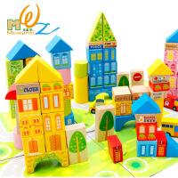 儿童积木玩具100粒桶装城市交通场景大块积木木制玩具 100粒城市交通积木