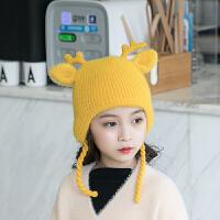韩版宝宝帽子秋冬1岁儿童护耳帽2小孩时尚毛线帽3女童婴儿保暖帽4 均码