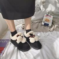 雪地靴女2018新款面包鞋冬季韩版百搭学生加绒加厚棉鞋可爱短靴子