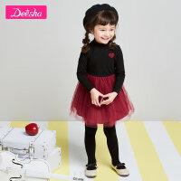 【3折�r:56】笛莎童�b女童�B衣裙2019春季新款小童�r尚�L袖半�W�女童公主裙子