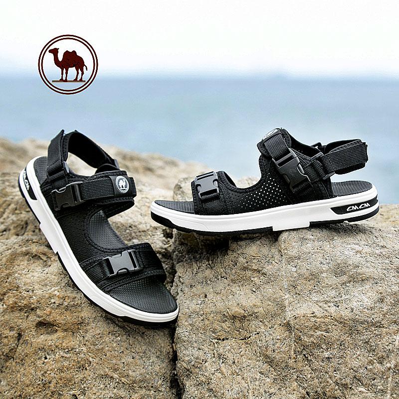 骆驼牌男鞋2018夏季魔术贴透气休闲凉鞋男士防滑露趾沙滩鞋男凉鞋