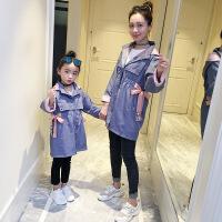 母女装风衣外套秋装2018新款韩版亲子装秋季时尚洋气中长款上衣潮 俏皮粉紫