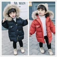 貉子大毛领棉衣 男女宝宝加厚保暖冬季女童装加长款棉袄服外套