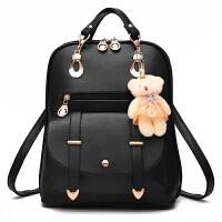 新款双肩包背包韩版时尚女包大容量女士包包简约双肩学生书包 黑色 双箭头 黑色