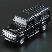 儿童合金汽车模男孩小汽车模型越野车跑车仿真回力开门玩具车 路虎卫士 - 黑色