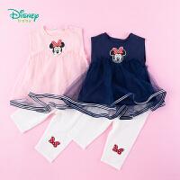 迪士尼Disney童装 女童套装无袖娃娃衣简约打底裤2件套夏季新品女孩甜美衣服