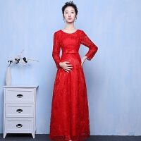 孕妇敬酒服新款秋冬新娘结婚红色高腰长款长袖婚礼晚礼服大码