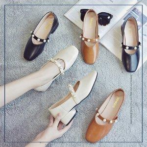 单鞋2017夏季新款女韩版粗跟百搭一字扣圆头中跟玛丽珍鞋夏复古奶奶鞋粗跟休闲女鞋子日常小皮鞋4mm-1