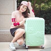 学生卡通子母箱硬托箱拉杆箱万向轮24寸可爱旅行箱行李箱女26寸22 浅绿色 单箱kitty猫