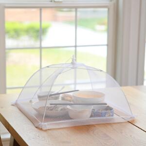 日本霜山厨房纱网罩饭菜罩菜伞可折叠饭罩防尘防苍蝇餐桌罩剩菜罩