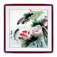 国画牡丹花鸟工笔水墨荷花鱼画手绘真迹斗方装饰字画客厅卧室玄关