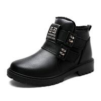 男童棉鞋冬季新款加绒儿童保暖鞋中大童防水皮鞋儿童马丁靴