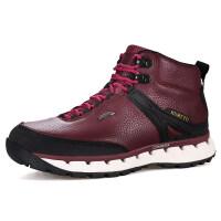 户外男女款登山鞋秋冬款防水高帮徒步靴加绒保暖潮 酒红 女常规