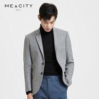 【2件2.5到手价:235】MECITY男装2018冬季新款羊毛呢韩版修身西服正装外套