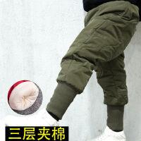 儿童男宝宝2-6岁棉裤冬季加绒加厚裤子萝卜男童裤高腰保暖裤