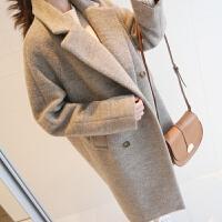 20新款韩版中长款羊绒呢大衣加厚女装冬装西装领羊毛呢外套学生 灰色(夹棉)