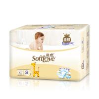 柔爱金冠装3D悬浮芯婴儿纸尿裤 宝宝悬浮加倍吸持久新感受S单包装32片