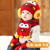婴儿帽子加绒0-3-6-12个月男童女宝宝帽子秋冬季新生儿保暖毛线帽