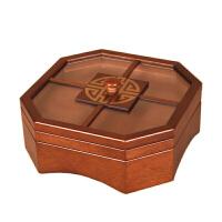 干果盒糖果盒中式木质家用瓜子零食盘水果盘分格带盖客厅双层
