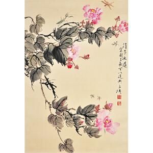 Q2483  王雪涛 《花卉草虫》(原装旧裱,满斑)
