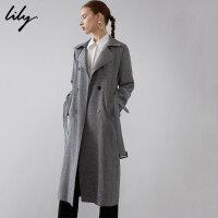 【2件4折价:335.6元】 Lily春新款女装经典双排扣帅气麻灰系带长款风衣119130C1213