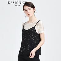 【参考到手价:128元】迪赛尼斯雪纺衫两件套女短袖2017夏装蕾丝吊带欧根纱雪纺上衣新款