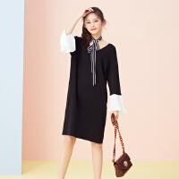 【2件2.5折到手价:64】美特斯邦威连衣裙女新款韩版学院风拼接袖口连衣裙