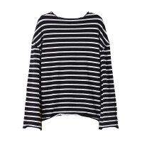 【1件4折到手价:56】美特斯邦威米奇长袖T恤女宽松条纹纯棉打底衫ins上衣冬装新款