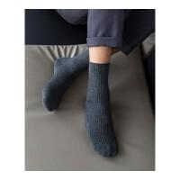 袜子男士棉秋冬季男袜中筒棉袜棉黑色四季纯色细条纹短袜 均码